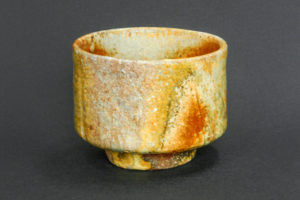 Matcha tea bowl, red shino