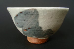 Feldspar shino with ochre underglaze decoration