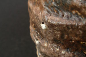 Small vase, cut – course clay from the Waldviertel, melted stone (ishihaze)