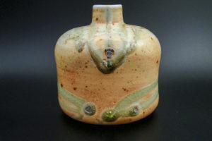 Flaschenvase, Porzellan aus Rohkaolin mit Glasurtropfen (bi doro)