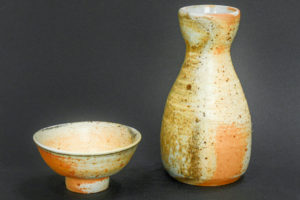 Sake set, natural porcelain